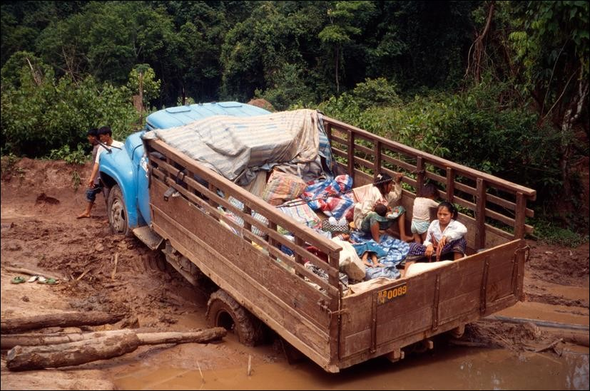 Truck Stuck In Mud On Road From Nam Tha To Huai Xai Laos